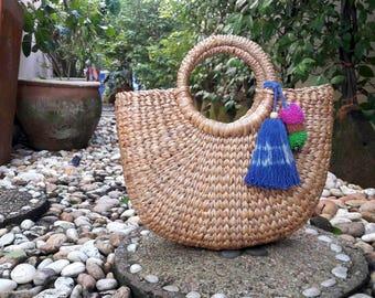 Straw Bag, Top Handles Bag, Thai Weaving Waterhyacinth