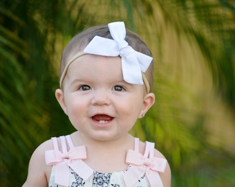 White cotton fabric Baby bow, nylon headband, newborn headband, toddler headband, pinwheel