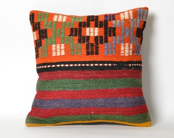 boho cushion cover, throw pillow cover, pillowcases, vintage kilim, tribal decor, colorful pillow, tribal cushion, moroccan decor, boho chic
