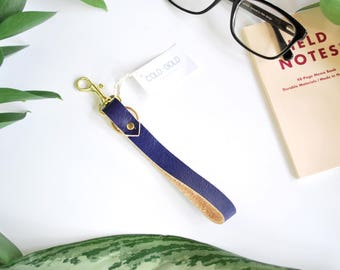 Leather Keychain Wristlet in Deep Indigo Blue, Minimal Wristlet Leather Loop, Minimal Keychain Loop in Soft Leather