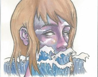 Original Watercolor Art - She Walked into the Ocean at Sunrise