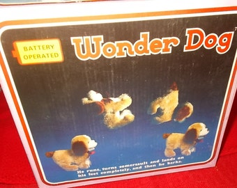 Wonder Dog Vintage Battery Toy Dog Battery Operated Toy Plush Dog Pretend Play Dog Animated Pet