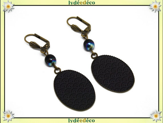 Earrings vintage retro pattern cabochon: seigaiha wave Japanese grey black resin bronze beads glass pendants 18x25mm