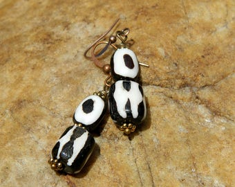 Batik Bone Boho Dangle Earrings