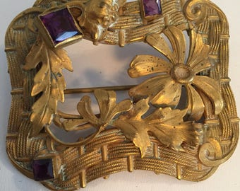 Victorian Art Nouveau Style Sash Brooch with Floral & Basket Weave Design in  Brass and Amethyst Glass Stones...Large Sash Pin/Brooch