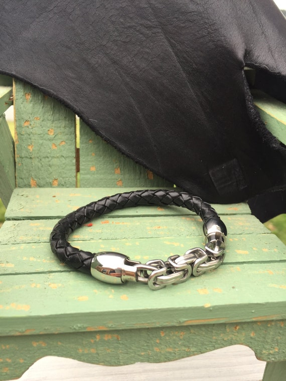 8mm Fine Black Bolo Braided Leather Bracelet with Intricate Stainless Steel Clasp