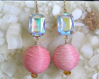 Iridescent Faceted Crystal with Large Rose Hemp-wrapped Beads ~ Shepard Hook Earrings