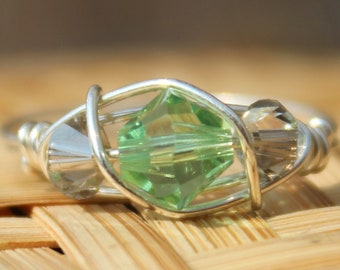 August Peridot Sterling Silver Birthstone Ring Sizes 4-11