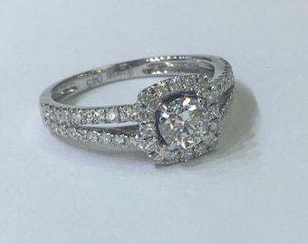 Split shank halo 14k diamond ring