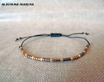 Miyuki Delica Brown and gold adjustable Friendship Bracelet boho chic Bohemian Bohostyle minimalism