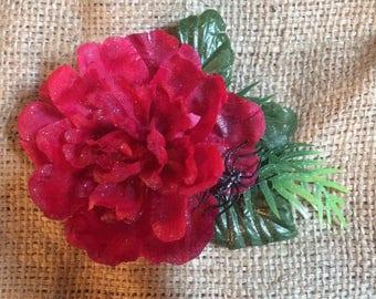 Glitter Rose Hair Flower