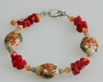 Chinese hand painted ceramic coral beaded bracelet Bridesmaids gifts Free US Shipping handmade anni designs
