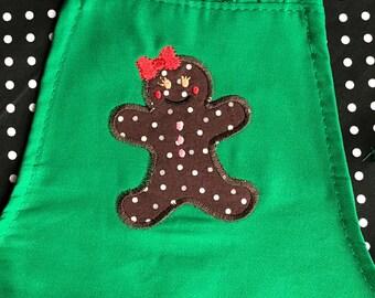 Children's Apron-Gingerbread Girl, Christmas Apron, Holiday Apron, Kids Apron, Holiday Baking Apron