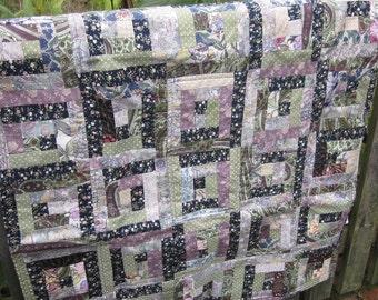 Lilac Green Cairnholy Log Cabin Mini Lap Art Quilt