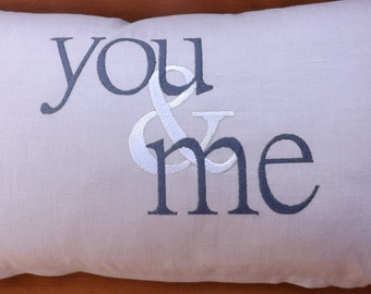 You and Me Embroidered Pillow