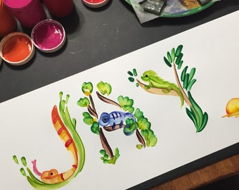 Reptile, Lizard, Snake Name Painting - Made to Order