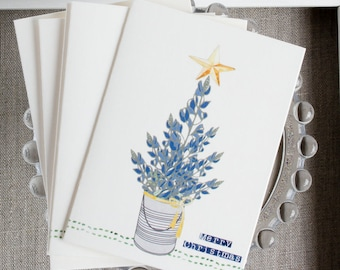 Texas Bluebonnet Christmas Cards - Wildflower Holiday cards - Texas Christmas - Rustic Holiday Cards - gifts under 10 - Bluebonnet Tree