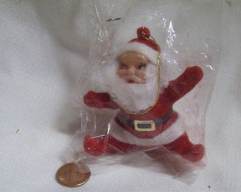 Vintage Flocked Jolly Santa Claus Christmas Ornament Plastic