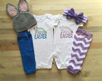 Twins First Easter Outfit, Boy/Girl Twins, 1st Easter Twins Personalized, Newborn Twins Bodysuit, Twins Easter Bunny, Twins Spring Photos