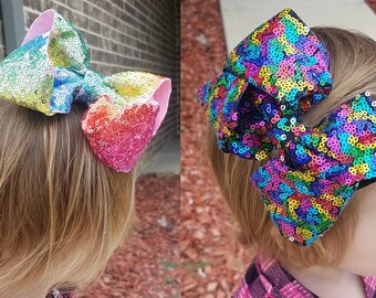 "5"" Rainbow Sequin Hair Bow with Alligator Clip"