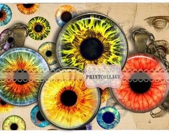 Cabochon images Digital Collage Sheet Colorful Eyes 1.5 inch 18mm 14mm 1 inch round Printable images Instant download Bottle Cap image c88