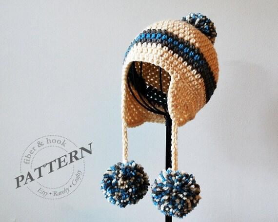Crochet Pattern Pom Pom Earflap Beanie Crochet Pom Pom Hat