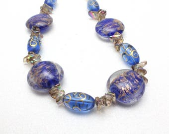 Royal Blue Lampwork Necklace, Blue Gypsy Glass, Artisan Glass Necklace, Blue Necklace