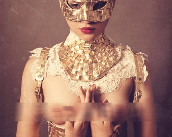 Artemis Harness - Gold lattice Leather and Vintage Lace Harness  ~ Gold Leather Waist Cincher ~ Leather waspie -  To order