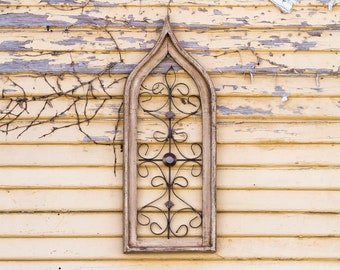 Small Ivory Cathedral Window Frame Art |Metal|Rustic|Reclaimed Wood|Wood Sign|Farmhouse|Vintage|Wood|Antique|Shabby Chic|Primitive|Shutters
