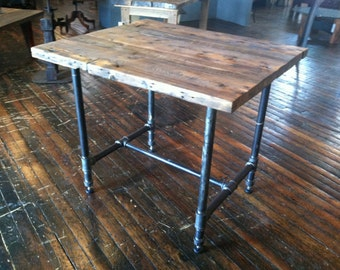 Kitchen Island Reclaimed Wood and Pipe Table Rustic Modern Kitchen Island or Table with boiler pipe bases