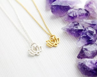 Gold Lotus Necklace, Silver Lotus Necklace, Lotus Charm, Lotus Chakra, Yoga Pendant, Yoga Jewellery, Spiritual Jewellery, Crown Chakra