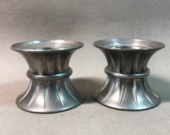Ceramarte Brazil Pewter Candle Holders 1993 Set of Two