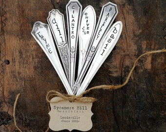 Custom Set of Herb Markers. Hand Stamped Vintage Spoon Garden Markers. Hand Stamped Garden Stakes, Vintage Spoon Markers for Herb Garden.