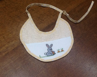Bunny carrot embroidered baby bib