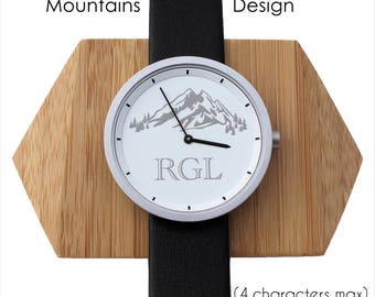 Mens Watch, Boyfriend Watch, Personalized Watch, Mens Engraved Watch, Leather Band, 12 designs, Personalized Gift for Boyfriend