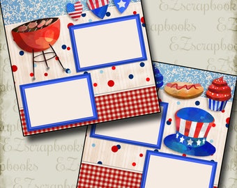 BBQ on the 4th - 2 Premade Scrapbook Pages - EZ Layout 2753