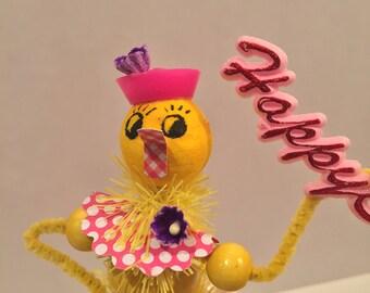 Vintage Spun Cotton Figurine Easter Vintage Chick Figure Sailor Kitsch Retro Whimsical Cake Topper TVAT Peep Satin Ornament OOAK