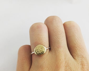 Gold nugget ring- gold ball ring- moon gold ring- brass gold ring- silver gold ball ring