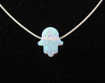Genuine White Opal Hamsa Hand Sterling Silver Necklace