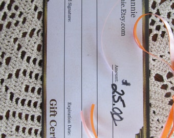 25 DOLLAR GIFT CERTIFICATE ReVintageLannieJewls We Accept Etsy Gift Cards 25.00 Dollar Gift Certificate Shop that Sells Gift Certificates