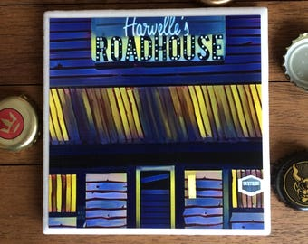 SUPERNATURAL SPN Harvelle's Roadhouse Art Tile Coaster with Original Graphic Design by LisaWasHere