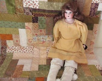 Handmade Doll Bed Doll Quilt of Brown and Green patchwork, Gold Tones. Qu1