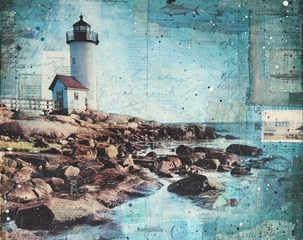 Afternoon in Annisquam - paper print in 3 sizes - Lighthouse Art, Mixed Media Painting, Mixed Media Art, Coastal wall art, nautical art
