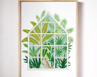 Greenhouse with leopard  gouache illustration/Plant art print/plant poster/Greenery art print/Green poster/Green wall art/Wall art