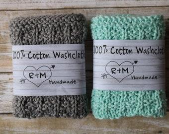 Knit Washcloths, Eco Friendly, Knit Washcloths, Set Of Two, Cotton Scrubbie, Bath Accessories, Housewarming Decor, For Her, Ready To Ship