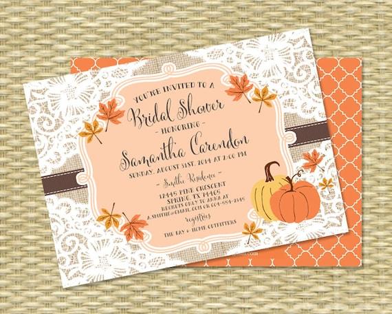 Fall bridal shower invitation burlap lace fall into love filmwisefo Gallery