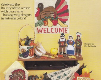 Thanksgiving Harvest, House of White Birches Plastic Canvas Pattern Booklet 181060