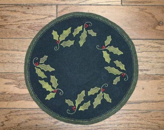 """Pattern: Wool Applique Christmas Holly 17"""" Round Table Mat Pattern by Cricket Street Wool"""