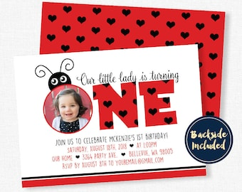 Ladybug Birthday Invitation, Red Ladybug Invitation, Ladybug Photo Invitation, Girl Birthday Invitation