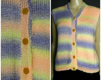 70s SOFTEST acrylic hand knitted space dye vest in neon shades of purple, yellow and peach M ~ L